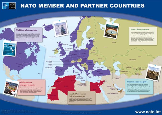 Libyen und Syrien/Libanon waren die letzten Mittelmeerländer, die nicht Mitglied der NATO-Mittelmeer-Partnerschaft (rot) waren und stattdessen eine eigene Regionalpolitik verfolgen wollten. (Grafik: Nato, via swprs.org)
