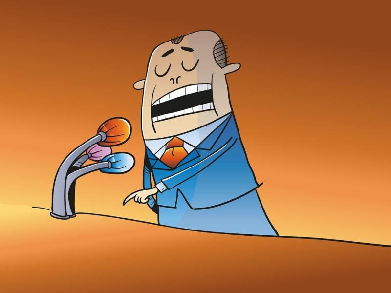 Comic Politiker am Rednerpult. (Illustration: Mustafa Kücük, Pixabay.com, Creative Commons CC0)