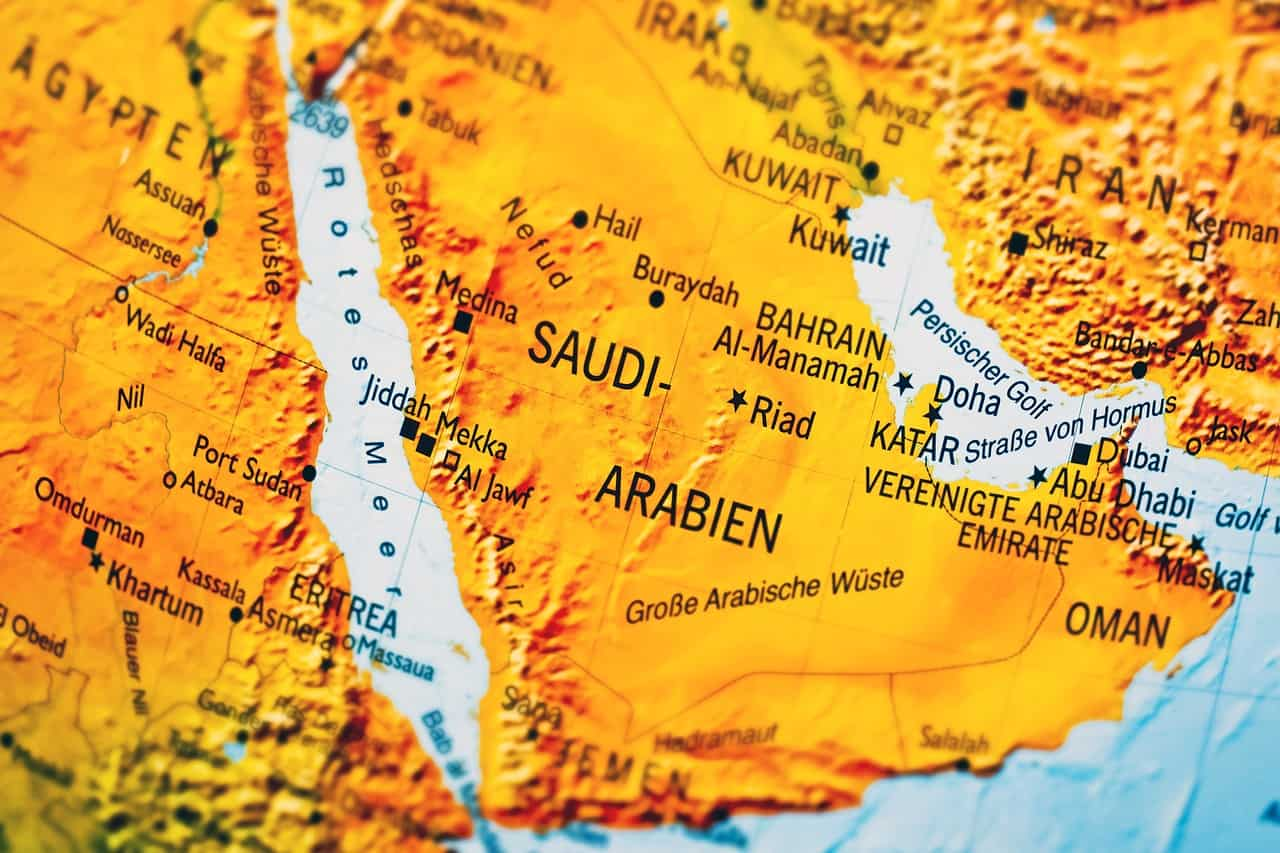 Landkarte Arabische Halbinsel (Foto: Michael Gaida, Pixabay.com, Creative Commons CC0)
