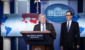 John Bolton: Befürworter und Gegner des Regimewechsels am 28.1.2019. (Foto: swprs.org)
