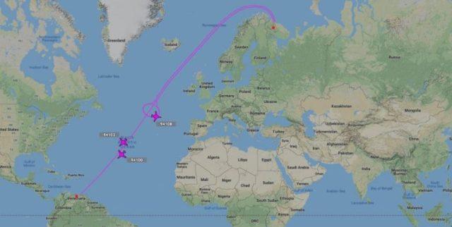 Flugroute der russischen Tu-160 Langstrecken-Nuklearbomber am 10. Dezember 2018. (Foto: swprs.org)