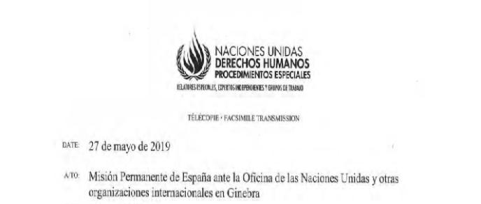Mitteilung der UN-Arbeitsgruppe für willkürliche Verhaftungen an Ständige Vertretung Spaniens beim Büro der Vereinten Nationen und anderen internationalen Organisationen in Genf