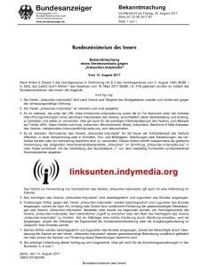 Bekanntmachung im Bundesanzeiger zum Verbot von linksunten.indymedia.org vom 25. August 2017. (Quelle: Bundesanzeiger)