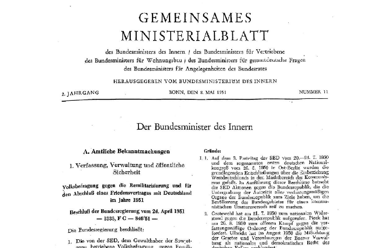 Gemeinsamen Ministerialblatt Nr. 11 1951. (Quelle: Archiv Bundesministerium des Inneren, für Bau und Heimat)