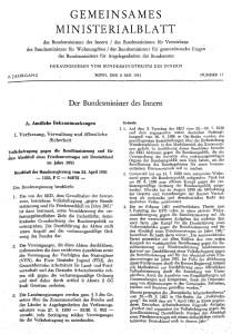 Gemeinsames Ministerialblatt Nr. 11 vom 8. Mai 1951. (Quelle: Archiv Bundesministerium des Inneren, für Bau und Heimat)