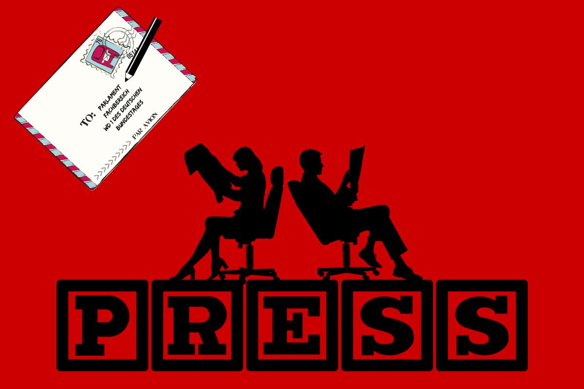 Aktion für Medienpreis Parlament 2019. (Illustration: Neue Debatte mit Material von Gerd Altmann, Pixabay.com)