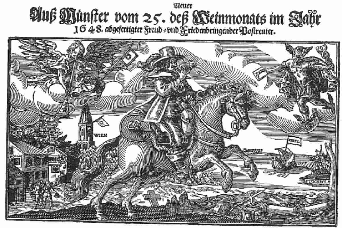 Der Dreißigjährige Krieg ist beendet. Ein Flugblatt von 1648 gibt den Friedensschluss zu Münster bekannt. (Quelle: Wikipedia; Gemeinfrei. Scan: Gudrun Meyer.)