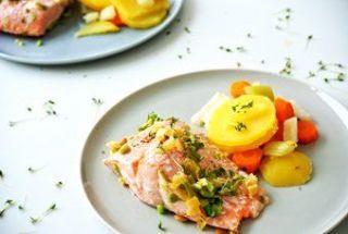 foodblog, fit essen, TCM Rezepte, Gemüse Gerichte, Lachs, Kartoffeln, Karotten, Stangensellerie