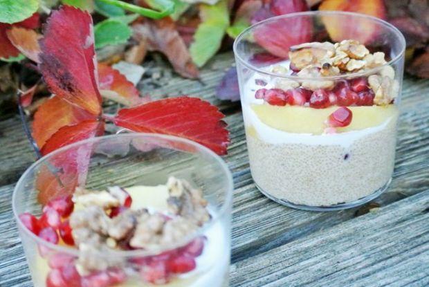 foodblog, fit essen, TCM Rezepte, warmes Frühstück, Amaranth, Granatapfel, Apfelkompott