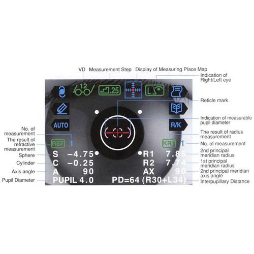 Autorefraktometer Keratometer Grand Seiko GR3500KA Monitorangaben