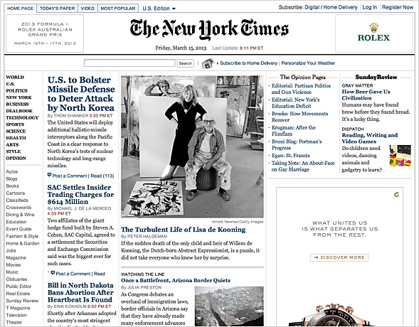 NYTimes with unaltered editorial design since 2006.
