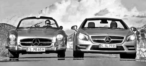 Damals und heute: 300 SL Roadster der 50er neben dem Mercedes SL 500 modernster Bauart