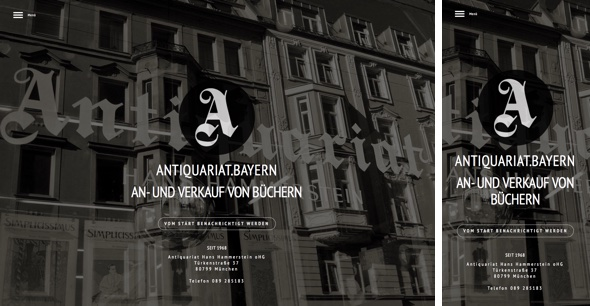 Responsive Gestaltung von Antiquariat.bayern