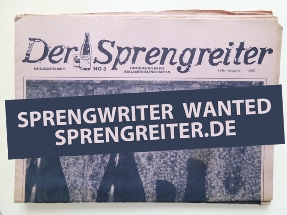 Sprengwriter wanted