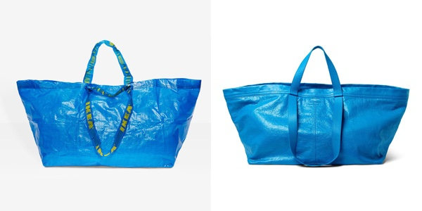 Ikea's 99¢ tote bag and one by Balenciaga for $2,145.