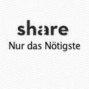 Derart unaufgeregt und konventionell, sich nur auf das Nötigste kaprizierend, kommt die Produkt- und Anzeigengestaltung für den Berliner Start-Up Share daher.