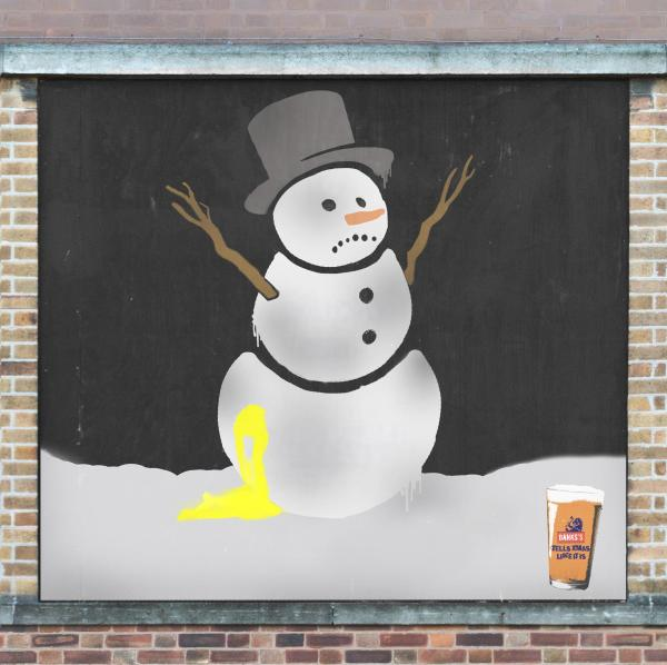 OOH Snowman advert for Banks beer