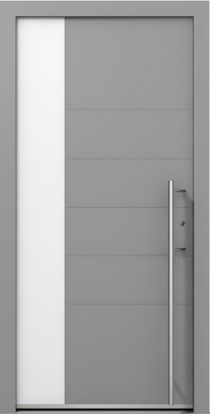 AT 305 Grey Aluminum Entrance Door with Glass Insert