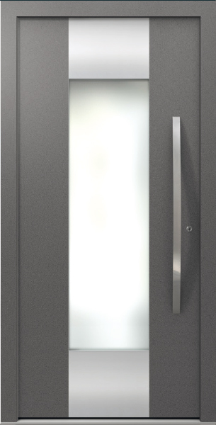 Dark Grey Aluminum Entrance Door AT 310 with Glass Insert