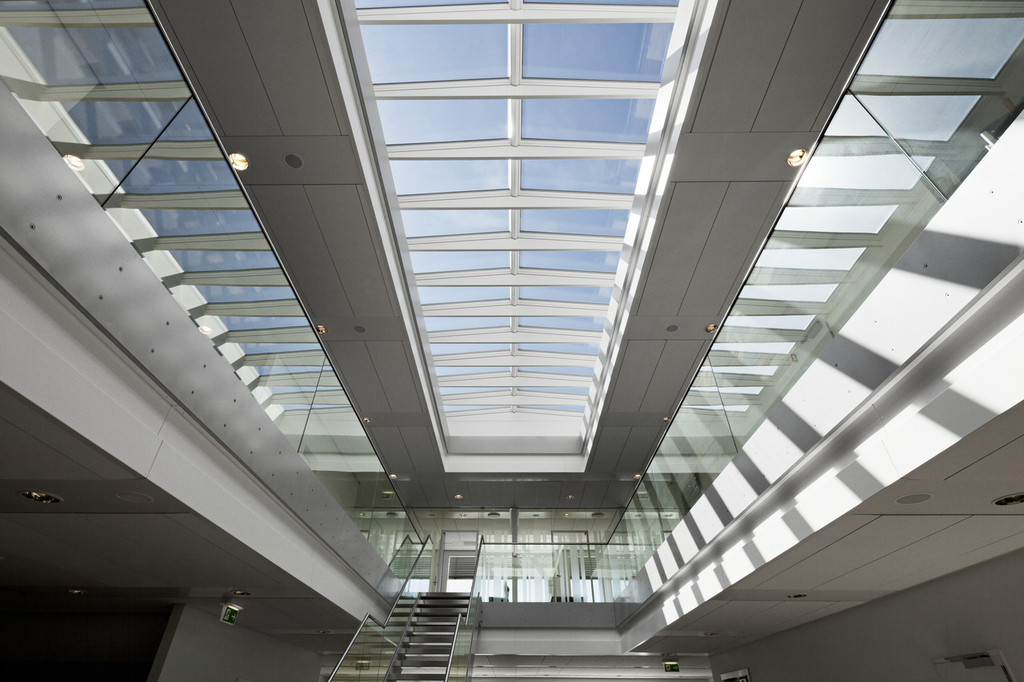 Modular Skylights Ridgelight At 5° With Beam From VELUX