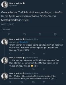 Apple Watch 3 & die eSim: 11.000 Aktivierungen pro Tag in Deutschland bei der Telekom