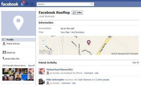 Facebook Places Seite