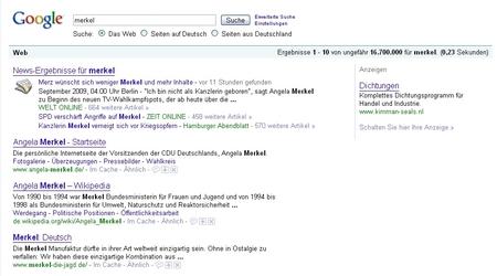 Google-Suche nach Merkel