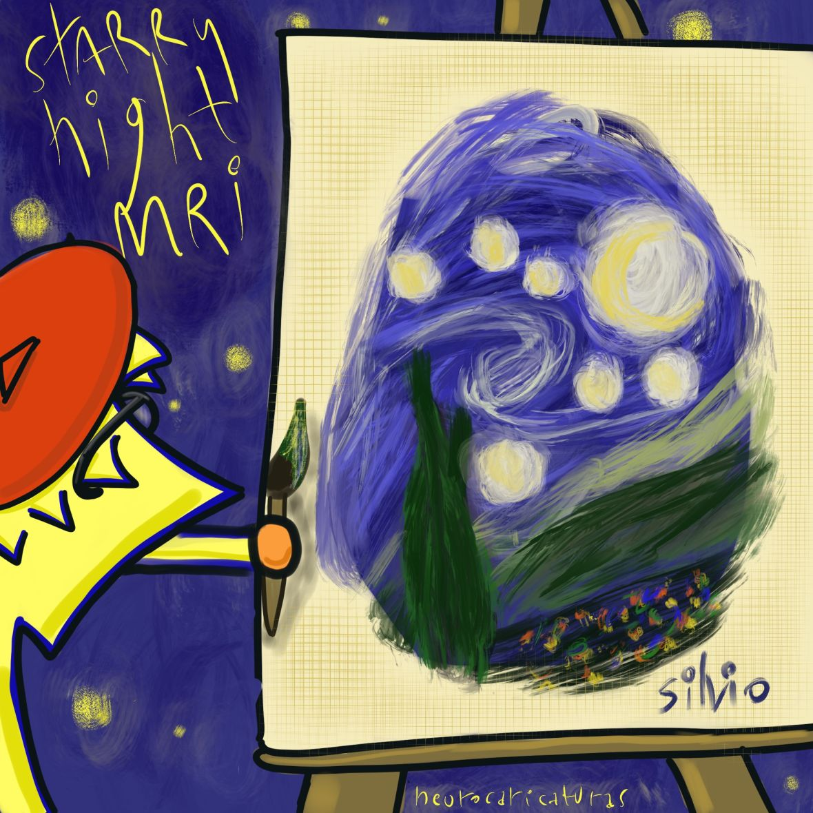 A neuron painting a starry night. It refers to a mri pattern