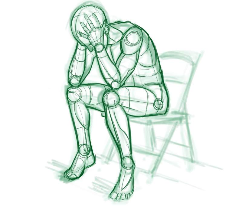 Sketch of an upset man with his head in his hands