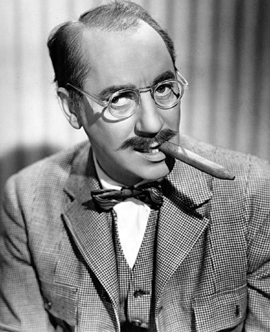 A picture of Groucho Marx with his cigar.