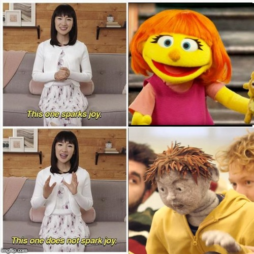 """Picture of Julia next to a photo of Mari Kondo saying """"this one sparks joy"""" and a picture of Laurence the nightmare puppet next to a photo of Mari Kondo saying """"this does not spark joy"""""""