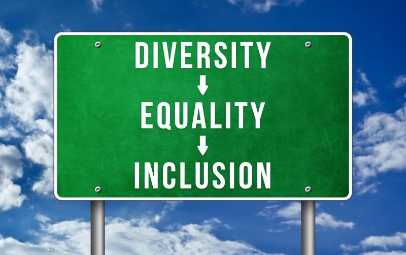 Road sign that said Diversity [arrow] Equality [arrow] Inclusion