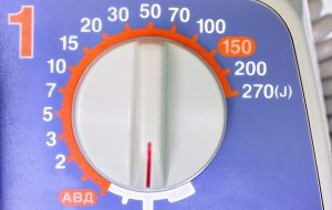A voltage meter showing the ohm knob from 0 to 270 Joules