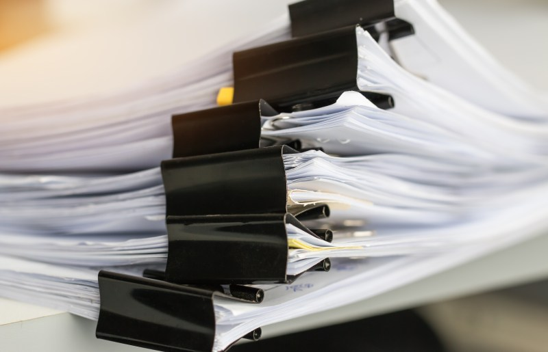 Stack of Paper documents with clip