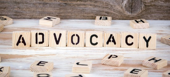 """Wooden blocks similar to scrabble tiles spell out the word """"advocacy"""" and are intended to simply be a literal and obvious way to represent the article"""