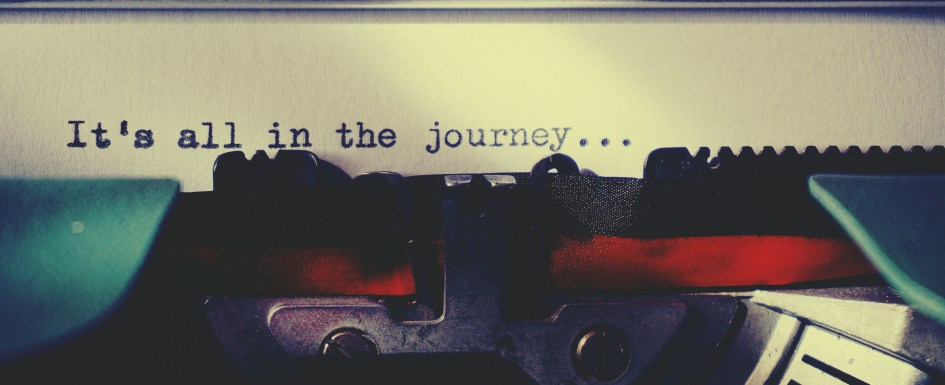 "Image features a close up of words on a typewriter. It reads, ""It's all in the journey..."" Autism on the spectrum autistic aspie asperger's poetry with neuroclastic"