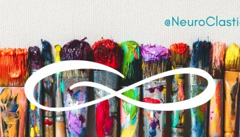 autistic teen from neuroclastic is an inspiring autistic on the spectrum with autism young person who sees a renaissance in the future of autistic representation in mainstream media. Image features paint brushes in all colors with an infinity symbol and a neuroclastic tag