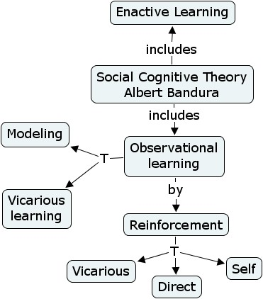 Flow chart showin observational learning theory including types of reinforcement, modelling, vicarious learning etc