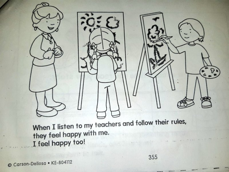 Image of two children painting and a teacher standing off to the side, smiling. Image reads: When I listen to my teachers and follow their rules, they feel happy with me. I feel happy too!