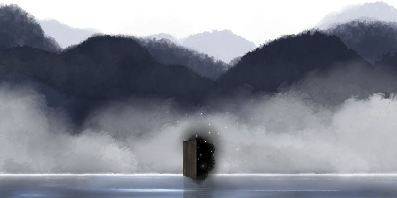 image by Naessly's Art Space shows a horizon on a lake with a door in the distance. The door opens to what appears to be deep space