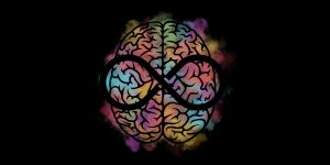 a colorful brain against a black background with a black infinity symbol in the middle of it