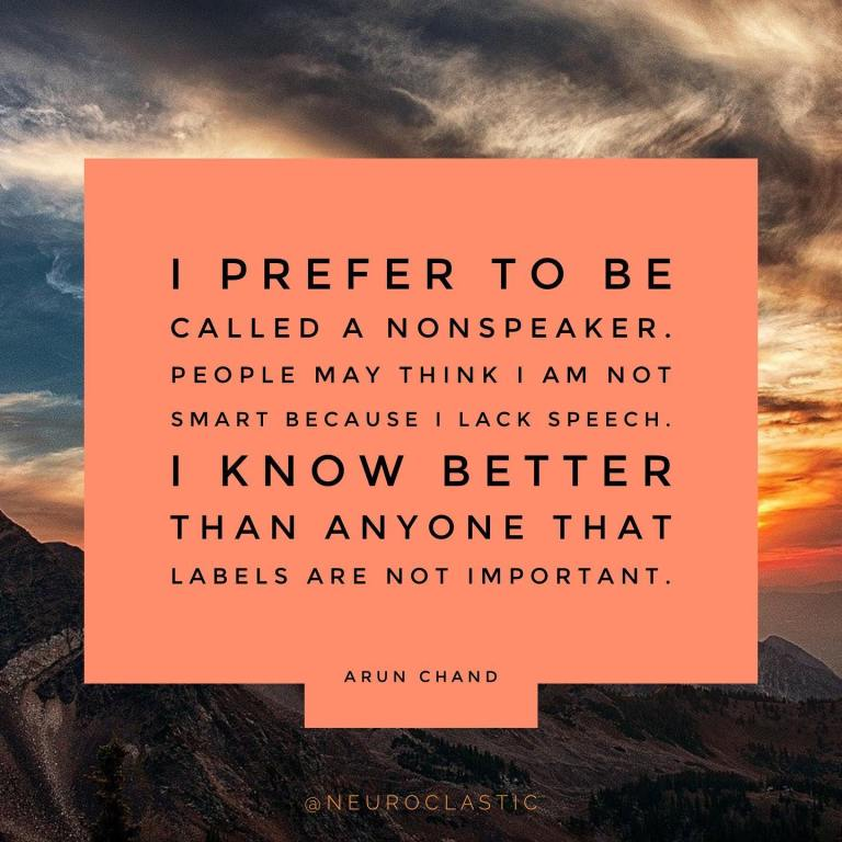 I prefer to be called a nonspeaker. People may think I am not smart because I lack speech. I know better than anyone that Labels are not important.  -Arun Chand. Image has a colorful sky as the background with the quote above in a box.