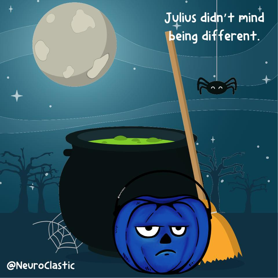 Julius sits in front of a cauldron looking his usual sullen self. There's a night scene with spider webs and a full moon in the background. Image reads: Julius didn't mind being different. @NeuroClastic