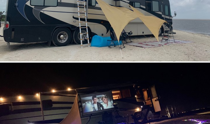 2 image of a 40 foot long motor coach, one during the day and one at night. Both photos are on the beach. The day time photo has chairs and shade structures, and the night time photo has led lights, and a projector showing the movie Grease on the wall