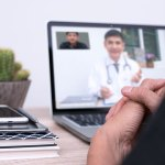 Patient talking to doctor via videochat