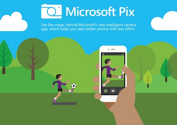Microsoft Pix Camera App with Artificial Intelligence Feature for iOS