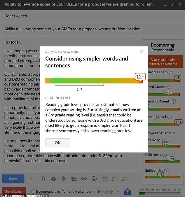 Boomerang plug-in can analyse 'respondability' and suggest changes on emails