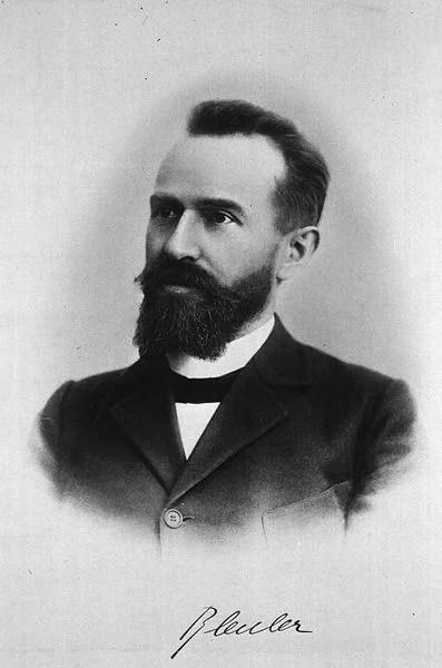 A portrait of Eugen Bleuler is shown.