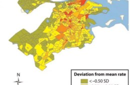 The image shows the different areas of Boston on a map. Blocked in red are the worst effected areas of crime.