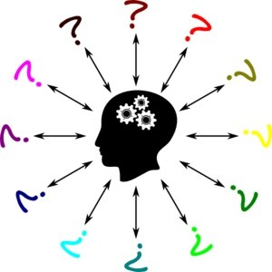 The image shows a head with question marks surrounding it.